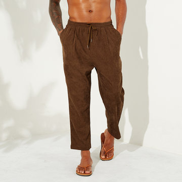 Corduroy Drawstring Elastic Plain Straight Pants