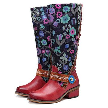 SOCOFY راعية البقر زهرة نمط جلد طبيعي الركبة الأحذية