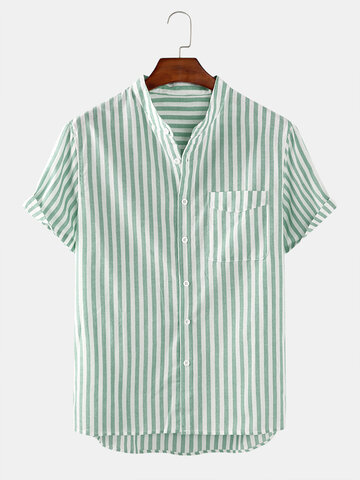 Cotton Stripe Slim Shirt