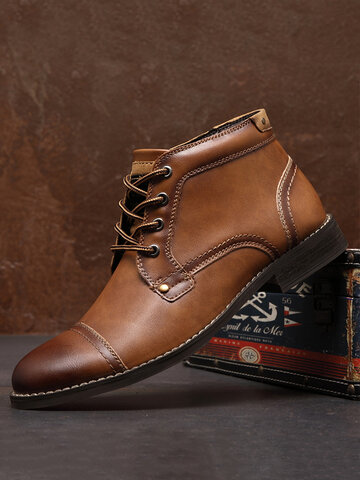 Men Tight Stitched Leather Dress Ankle Boots