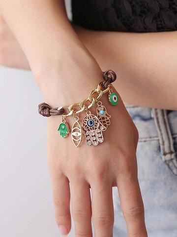 Bohemian Fatima's Palm Woven Bracelet