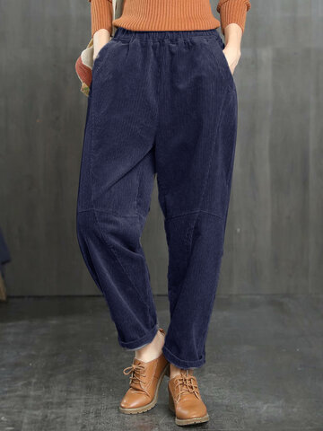 Corduroy Solid Color Pants