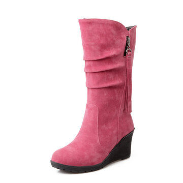 Suede Round Toe Wrinkle Wedge Boots