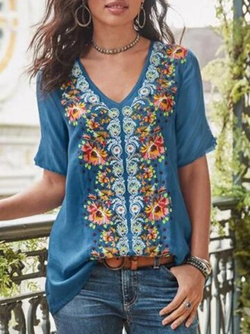 T-shirt casual con stampa floreale