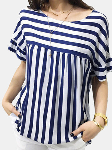 Striped Patchwork Short Sleeve Blouse, Navy red black
