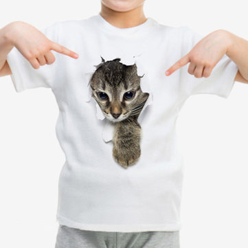 3D Cat Print Boys Girls T Camicia Per 1Y-9Y