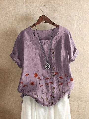T-shirt à col rond et boutons à imprimé floral