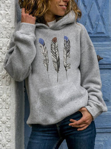 Feather Print Casual Hoodie