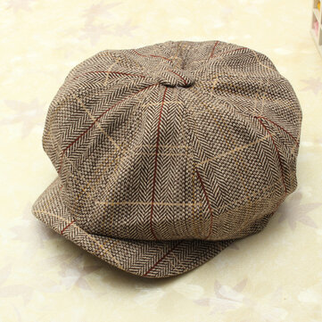 Men Women Vintage Tweed Cap Newsboy Golf Driving Flat Cabbie Hat, Khaki gray