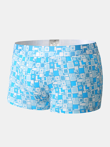Home Nylon Breathable Sexy Plaid Underwear With Mesh Pouch Boxer Briefs
