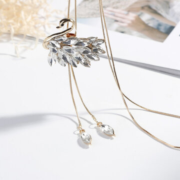 Collares largos cristalinos del cisne de la moda