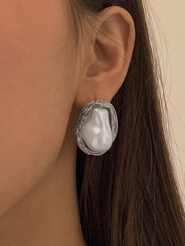 Irregular-shaped Pearl Earrings