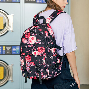 Nylon Travel Backpack with USB Charging Port