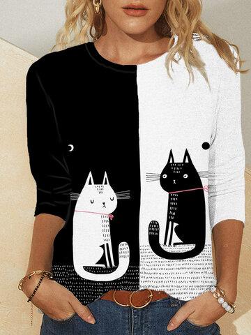 Cartoon Cat Print T-shirt