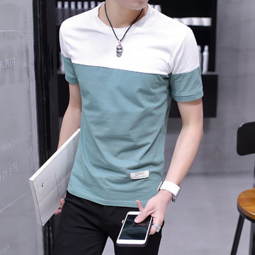 Season New Men's Short-sleeved T-shirt Round Neck Youth Color Matching T-shirt Half-sleeved Bottoming Clothes Tide