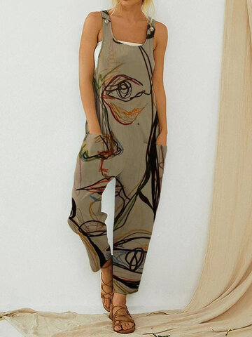 Art Illustration Vintage Print Jumpsuit