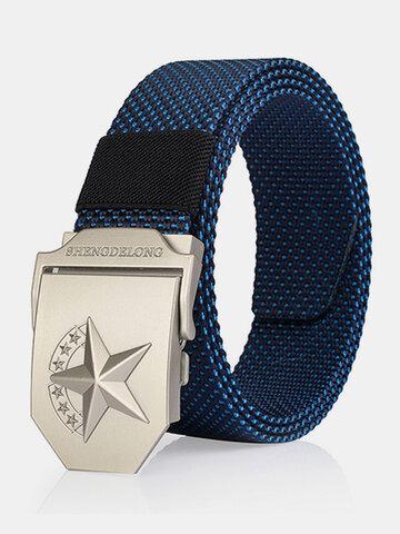 125CM Casual Nylon Hebilla lisa Cinturón Lona táctica transpirable duradera Cinturón para hombres