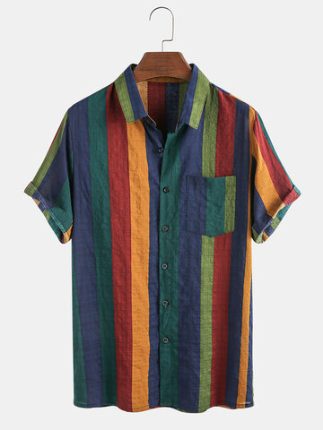 Cotton Colorful Stripe Shirt