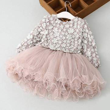 3D Flower Girls Princess Dress 3Y-11Y