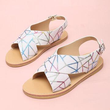 Girls Fashion Colorful Striped Cross Band Beach Sandals