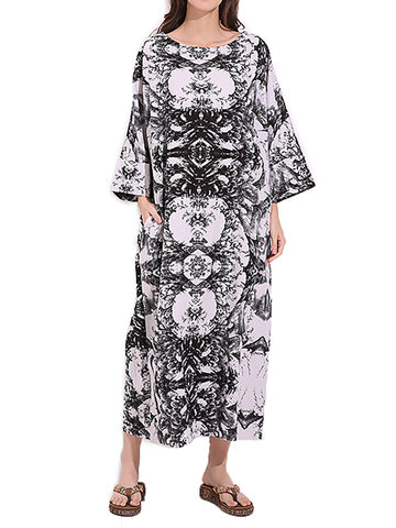 Vintage Women Printed Long Sleeve O-Neck Pockets Robe Dress