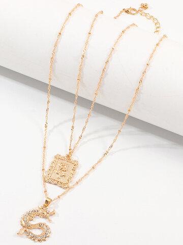 Alloy Diamond Rose Necklace Set