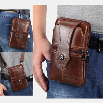 Men EDC Multi-Carry Genuine Leather Belt Bag