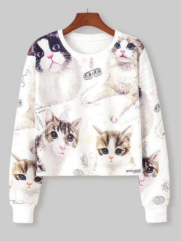 Cute Cat Print O-neck Short Sweatshirt