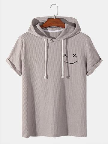 スマイル刺繡フード付きTシャツ