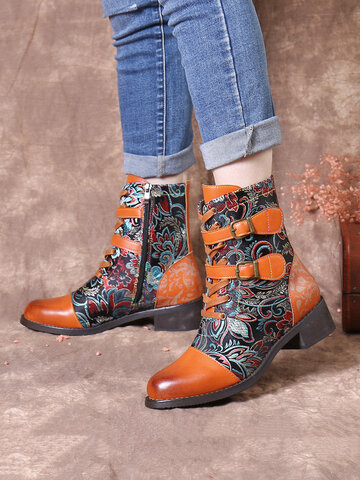 SOCOFY Retro Stitching Gorgeous Flowers Cloth Short Boots