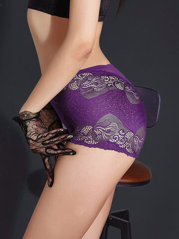 High Waisted Lace Hollow Out Panties