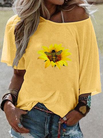 Flower Bee Print T-shirt