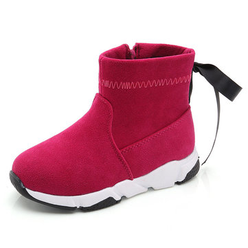 Girls Kids Pure Color Bowknot Boots