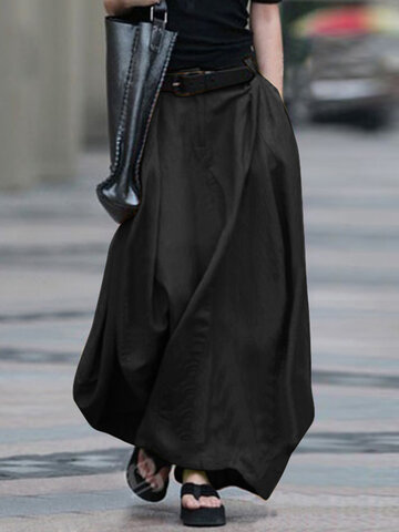 Casual Solid Color Loose Skirt