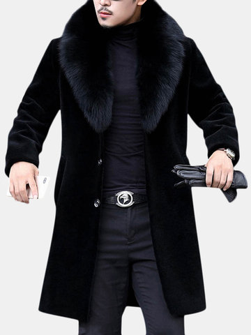 Men Mid Long Faux Fur Coat Shearling Coat
