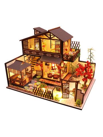 家具付きドールハウスDiyミニチュア3D木製Miniaturas子供のためのドールハウスのおもちゃ誕生日プレゼントミニウッドキャビン