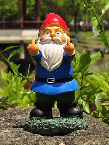 1PC Resin Provocation Gnome Dwarf White Beard Statues Raise Middle Finger Lawn Decorations Indoor Outdoor Christmas Garden Ornament