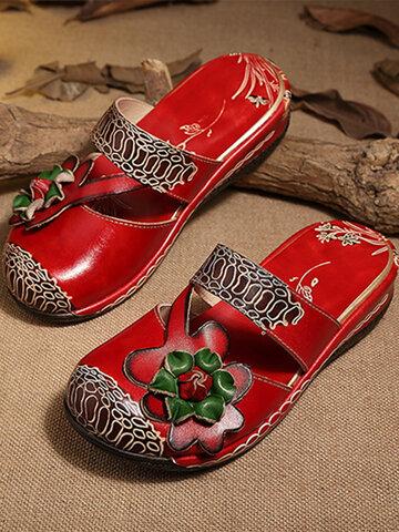 Socofy Цветок закрытый носок Сандалии