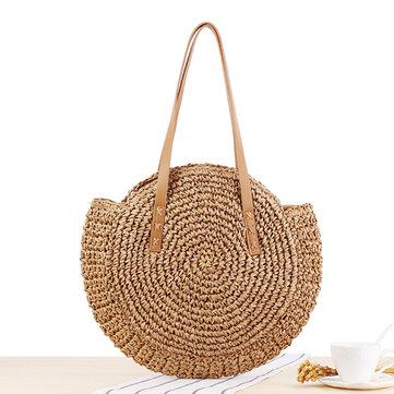 Women Leisure Straw Bag Woven Beach Bag Shoulder Bag