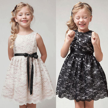 Bow-Knot Girls Lace Princess Dress 2-11Y