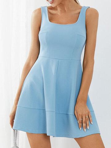 Backless Zip Strap Mini Dress