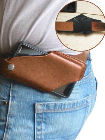 Men EDC Genuine Leather 6.5 Inch Phone Waist Bag