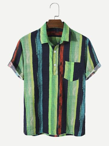 100% Cotton Striped Golf Shirt