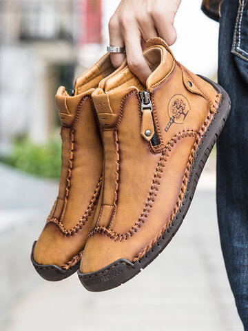 Men Stylish Side Zipper Ankle Boots