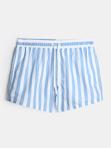 Stripe Board Shorts With Liner For Men