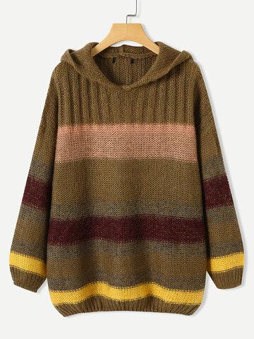 Maglione con cappuccio vintage a più righe