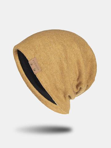 Вязаная шапка унисекс с кожаной этикеткой Шапка