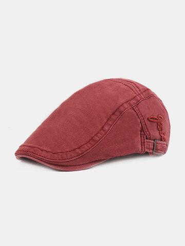 Men's Embroidery Cotton Cap Forward Hat British Retro Sun Hat Literary Beret
