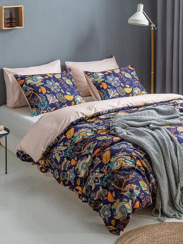 2/3 Pcs Bohemian Floral Overlay Print Comfy Bedding Set Duvet Cover Pillowcase Twin King