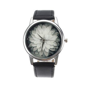 Women's Retro Watch Leather Lotus Flower Watch